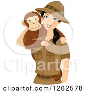 Clipart Of A Happy Young Safari Woman With A Monkey On Her Shoulder Royalty Free Vector Illustration