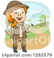 Clipart Of A Happy Red Haired Safari Tour Woman Royalty Free Vector Illustration