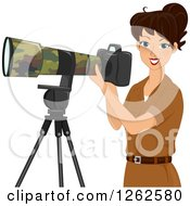 Clipart Of A Brunette Caucasian Woman Taking Safari Photographs With A Camera Royalty Free Vector Illustration