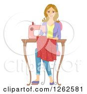 Blond Caucasian Woman Sewing A Dress