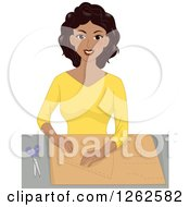 Clipart Of A Happy Black Woman Tracing A Sewing Pattern Royalty Free Vector Illustration