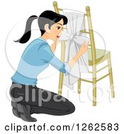 Clipart Of A Woman Kneeling And Tying A Knot To A Chair Royalty Free Vector Illustration