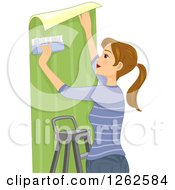 Clipart Of A Dirty Blond Caucasian Woman Hanging Wallpaper Royalty Free Vector Illustration