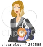Clipart Of A Blond Caucasian Woman Carrying A Dog In A Carrier Royalty Free Vector Illustration