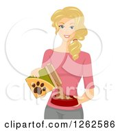 Clipart Of A Blond Caucasian Woman Pouring Dog Food Royalty Free Vector Illustration