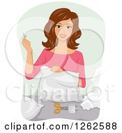 Clipart Of A Brunette Caucasian Woman Sewing A Pillow Royalty Free Vector Illustration