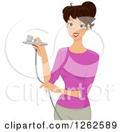 Clipart Of A Brunette Caucasian Woman Using An Airbrush Royalty Free Vector Illustration