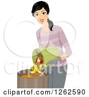 Clipart Of A Happy Woman Puring Compost In A Bin Royalty Free Vector Illustration