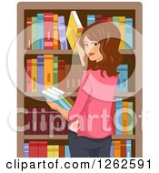 Clipart Of A Brunette Caucasian Woman Grabbing Books In A Library Royalty Free Vector Illustration