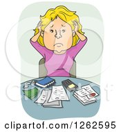 Clipart Of A Blond White Woman Pulling Her Hair And Going Over Finances Royalty Free Vector Illustration