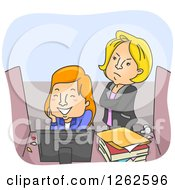 Clipart Of A Mad Boss Standing Behind An Employee Playing At Her Desk Royalty Free Vector Illustration