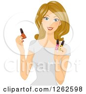 Clipart Of A Blond Caucasian Woman Holding Nail Polish Royalty Free Vector Illustration