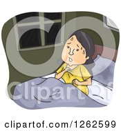 Clipart Of A Sweaty Woman Waking From A Nightmare Royalty Free Vector Illustration