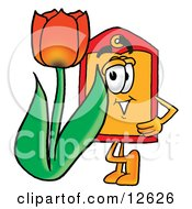 Price Tag Mascot Cartoon Character With A Red Tulip Flower In The Spring