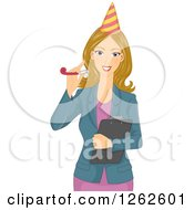Clipart Of A Blond White Woman Holding A Clipboard And Wearing A Party Hat Royalty Free Vector Illustration