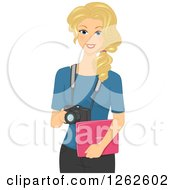 Clipart Of A Blond White Woman Photographer Holding A Laptop And Camera Royalty Free Vector Illustration