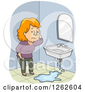 Clipart Of A Red Haired White Woman Discovering A Leaky Sink In Her Bathroom Royalty Free Vector Illustration
