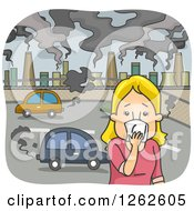 Clipart Of A Blond White Woman Covering Her Nose In A Polluted City Royalty Free Vector Illustration
