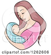 Brunette White Mother Breastfeeding Her Newborn Baby