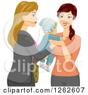 Clipart Of A Blond Caucasian Mother Handing Her Baby Over To A Sitter Royalty Free Vector Illustration