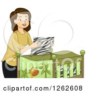 Clipart Of A Brunette Caucasian Woman Putting Zebra Sheets In A Baby Safari Crib Royalty Free Vector Illustration