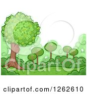 Clipart Of A Backdrop Of Green Shrubs And Trees Royalty Free Vector Illustration