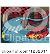 Clipart Of A Race Car On A Curvy City Track Royalty Free Vector Illustration by BNP Design Studio