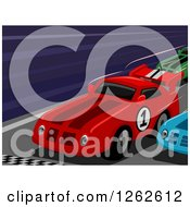 Clipart Of Race Cars At A Finish Line Royalty Free Vector Illustration by BNP Design Studio