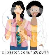 Clipart Of A Female Veterinarian With A Dog And The Owner Holding A Toothbrush Royalty Free Vector Illustration