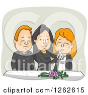 Clipart Of Weeping People At A Funeral Royalty Free Vector Illustration