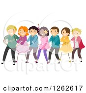 Clipart Of Happy People Doing The Conga Royalty Free Vector Illustration by BNP Design Studio