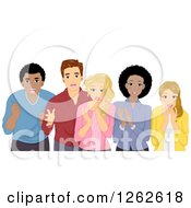 Clipart Of A Group Of Shocked People Royalty Free Vector Illustration