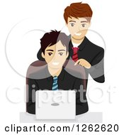 Clipart Of A Boss Leaning Over His Employee As He Uses A Laptop Royalty Free Vector Illustration
