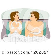 Clipart Of A Shocked Man And Woman Waking Up After A One Night Stand Royalty Free Vector Illustration
