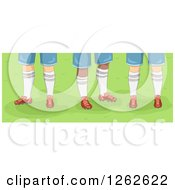 Feet Of Male Rugby Players On Grass