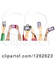 Clipart Of Diverse Hands Holding Cameras Royalty Free Vector Illustration by BNP Design Studio