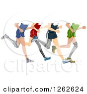 Clipart Of Legs Of Runners With Prosthetics Royalty Free Vector Illustration