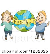 Clipart Of A Happy Caucasian Couple Holding A Protect Banner Over Earth Royalty Free Vector Illustration
