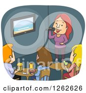 Clipart Of A Woman Skinging Karaoke At A Bar Royalty Free Vector Illustration by BNP Design Studio