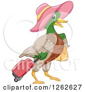 Clipart Of A Mallard Duck Wearing A Hat And Pulling Luggage Royalty Free Vector Illustration by BNP Design Studio