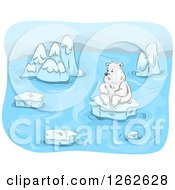 Clipart Of A Lonely Polar Bear Surrounded By Melting Ice Floes Royalty Free Vector Illustration