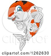 Clipart Of A Happy Calico Koi Fish Giving A Thumb Up Royalty Free Vector Illustration