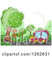 Clipart Of A Car Following Arrow Signs Along A Country Road Royalty Free Vector Illustration