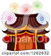 Clipart Of A Pagoda And Fireworks Royalty Free Vector Illustration