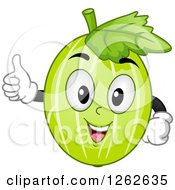 Clipart Of A Happy Gooseberry Character Holding A Thumb Up Royalty Free Vector Illustration