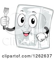 Clipart Of A Happy Block Of Ice Character Holding A Chisel Royalty Free Vector Illustration by BNP Design Studio