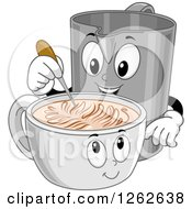 Clipart Of A Creative Pitcher Creating Latte Art In A Cup Royalty Free Vector Illustration