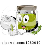 Clipart Of A Canister Pouring Organic Tea Into A Cup Royalty Free Vector Illustration by BNP Design Studio