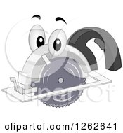 Clipart Of A Circular Saw Character Royalty Free Vector Illustration by BNP Design Studio