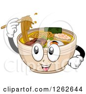 Clipart Of A Bowl Of Ramen Noodles Character Using Chopsticks Royalty Free Vector Illustration by BNP Design Studio